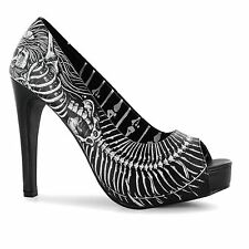 Iron Fist Bones High Heels Platform Shoes Womens Black/White Fashion Footwear