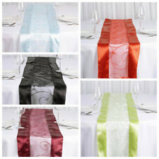 "12 pcs 14"" x 108"" Embroidered Organza TABLE RUNNERS Satin Edge Borders Wedding"