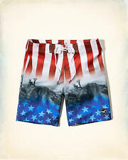NWT Hollister by Abercrombie Men Swim Patterned Board Shorts Trunks Classic Fit