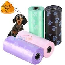5 Rolls/75pcs Printing Pet Dog Puppy Cat Waste Clean Poop Pick Up Bags Refills