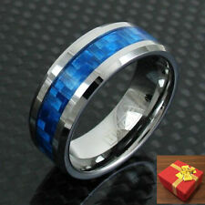 Tungsten Ring Royal Blue Carbon Fiber Inlaid Band Men's Engraving Available