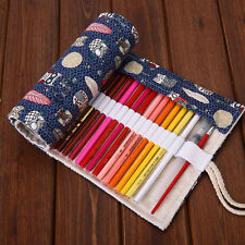 Roll Up 36/48/72 Slots Canvas Pen Pencil Bag Brush Case Drawing Sketching #AU