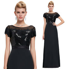 Short Sleeve Sequined Ball Gown Long Formal Evening Prom Party Dress Cocktail