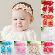 3Pcs Baby Infant Girl Cute Headband Crystal Foot Flower Hair Band Accessories