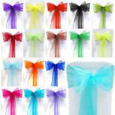 1/10/25/50/100 Wedding Party Banquet Venue Decorations Chair Organza Sash Bow