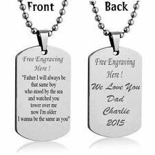 Personalized Custom Message Engrave Dog Tag Necklace Pendant