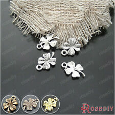 50PCS 19*10MM Lucky Flower Clover Charms Pendants Findings Accessories 19559