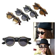 New Steampunk Hot Goth Goggles Glasses Retro Flip Up Round Sunglasses Vintage JS