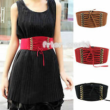 Women Strap Buckle Waist Belt Cinch Corset Stretch Skinny Waistband Dress Belts