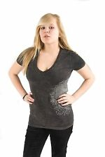 Lucky 7 Dark Heather Gray Ladies 2 Headed Horse Short Sleeve T-Shirt $55.90 CAD