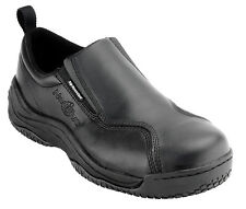 Nautilus Mens Ergolite Toe Slip Resistant Slip On /W Black Leather Shoes