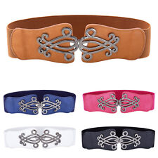 Fashion Women Vintage Metal Elastic Stretchy Buckle Wide Waist Belt Waistband