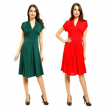 Women 50s 60s Rockabilly Pinup Housewife Vintage Retro Hepburn Style Swing Dress