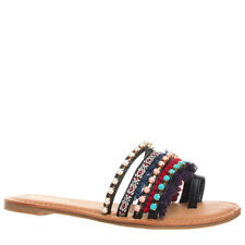 Women's Black Jeweled Multi Strap Toe Ring Slide Sandal Bamboo Blended-01S