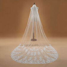 White/ Ivory Cathedral Wedding Veil 1 Layer Lace Applique Bridal Veil with Comb
