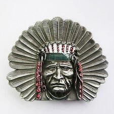 Men Buckle Western Indian Chief Belt Buckle Gurtelschnalle Boucle de ceinture