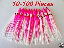 """10-100 Pcs 4.75"""" Hoochie Squid Skirts Pink/white Fishing Lures Select Pieces"""