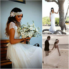 New Long Chiffon Lace A Line Beach White Ivory Short Wedding Dress Bridal Gowns