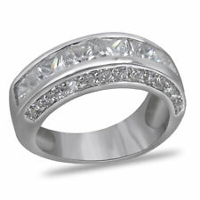 New Mens Ring 14K White Gold Over Wedding Band Ring