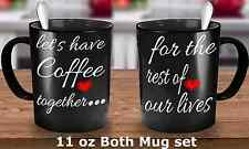 """Engagement coffee mugs set """"Let's have Coffee Together for the rest of lives"""""""