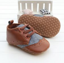 Baby girl boy toddle infant soft Brown Crib Shoes Sneaker Size 0-18 Months