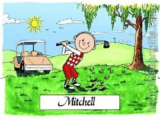 PERSONALIZED CUSTOM CARTOON PRINT - GOLF PLAYER - GREAT GIFT IDEA! FREE S/H