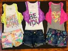 Justice Girls 8R OUTFIT Paint Splatter Jean Shorts & Awesome HEART TANK TOP