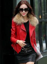 Punk Womens Korea Fashion Zipper Fur Collar PU Leather Jacket Coat Plus Sz M-5XL