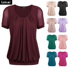 Laksmi Women's Short Sleeve Scoop Neck Pleated Stretchy Fashion Blouse Tops