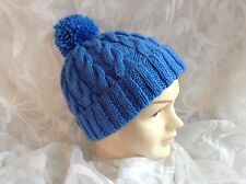 HAND KNITTED CHLDS BOB HAT CABLED BLUE AGE 0-3mths3-6mths6-12mths 1-2 &3-4 yrs