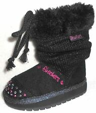 NEW SKECHERS KEEPSAKES PIXIE GIRL BLACK SWEATER BOOTS GIRLS