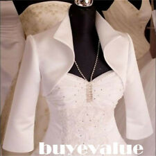 Short Satin Shawl Bolero Wedding Jacket Bridal 3/4 Sleeves White Ivory nice US4