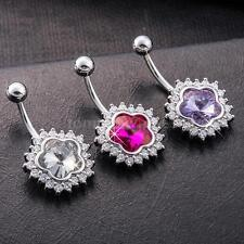 Sexy Flower Crystal CZ Navel Belly Button Rings Nail Piercing Body Jewelry G1Z4