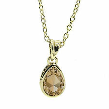 Crystal Colorado Topaz  Mini Teardrop Pendant Necklace  with SWAROVSKI® Crystals