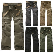 Men Outdoor Military Cargo Work Multi-pockets Pants Casual Fitted Long Trousers