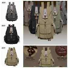 Canvas Bag Men's Vintage Backpack Rucksack Laptop Shoulder Travel Camping Bag