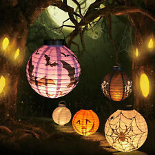 LED Paper Pumpkin Bat Spider Hanging Lantern Light Lamp Halloween Party Decor RF
