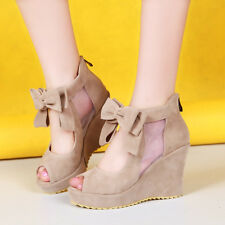 Womens shoes chic platform cute back bowknot peep toe zip high wedge heels size