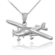Polished 10k White Gold Piper Tri Pacer PA-20 Aircraft Airplane Pendant Necklace