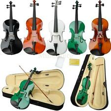 New 16 Adult Acoustic Viola + Case + Bow Wood Black Pink White Blue Green Brown