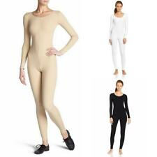 Womens Long Sleeve Unitard Bodysuit Full Body Jumpsuit Scoop Neck Dance Costumes