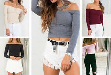 Off Shoulder Pullover Sexy Tops Knit Sweater T-Shirt Casual Women Short Blouse