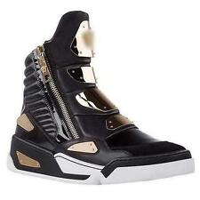 Goth Mens Leather High Top Sneaker Rock Gold Metal Casual Trainer Zip Boot Shoes
