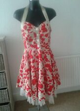Red Ivory Halterneck Rockabilly 50's Style Dress size L