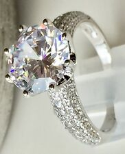 925 Sterling Silver SPARKLING Round Brillant CZ Bridal Engagement Ring