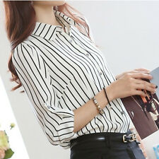 Office Lady Long Sleeve Elegant Casual Striped Chiffon Tops Blouses S-4XL size