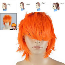 Orange Straight Layered Short Kurosaki Ichigo Anime Party Cosplay Hair Wig + Cap