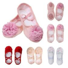 New Girl Kids Canvas Leather Ballet Yoga Pointe Dance Flat Sole Shoes Gymnastics