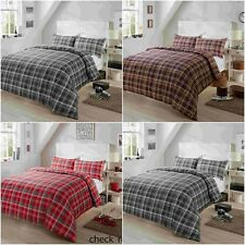 CHECK CHECKED BLACK BROWN RED DUVET QUILT COVER PILLOWCASE BEDDING SET ALL SIZES