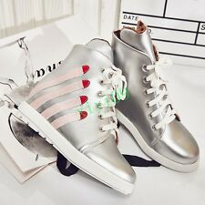 Fashion Womens Hidden Wedge Lace Up Athletic Sneaker Skateboard Casual Shoe 10.5